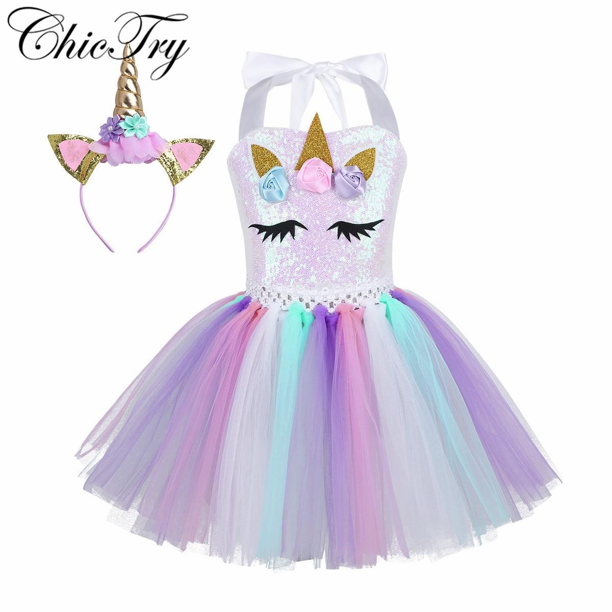 Kids Girls Sequins Cartoon Cosplay Dress 3D Flowers Dress Up Cosplay Clothes Kids Party Dancing Dress Girls Xmas Gift Dresses