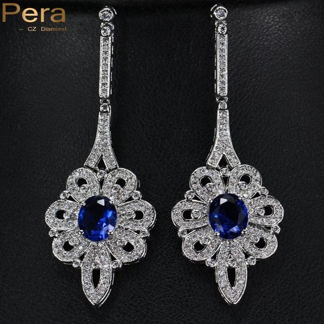 Luxo Real Jóia Do Casamento de Noiva Longo Dangle Azul Cubic Zirconia Simulado Diamante Pavimentada Brincos Caindo Para Noivas E116