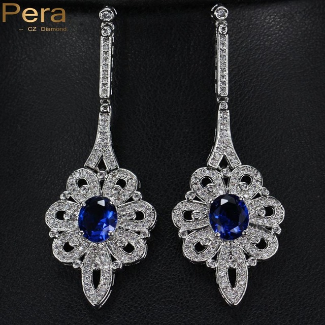 Pera Luxury Royal Bridal Wedding Jewelry Long Dangle Blue Cubic Zirconia  Crystal Paved Big Dropping Earrings For Brides E116 59e28802c0f8