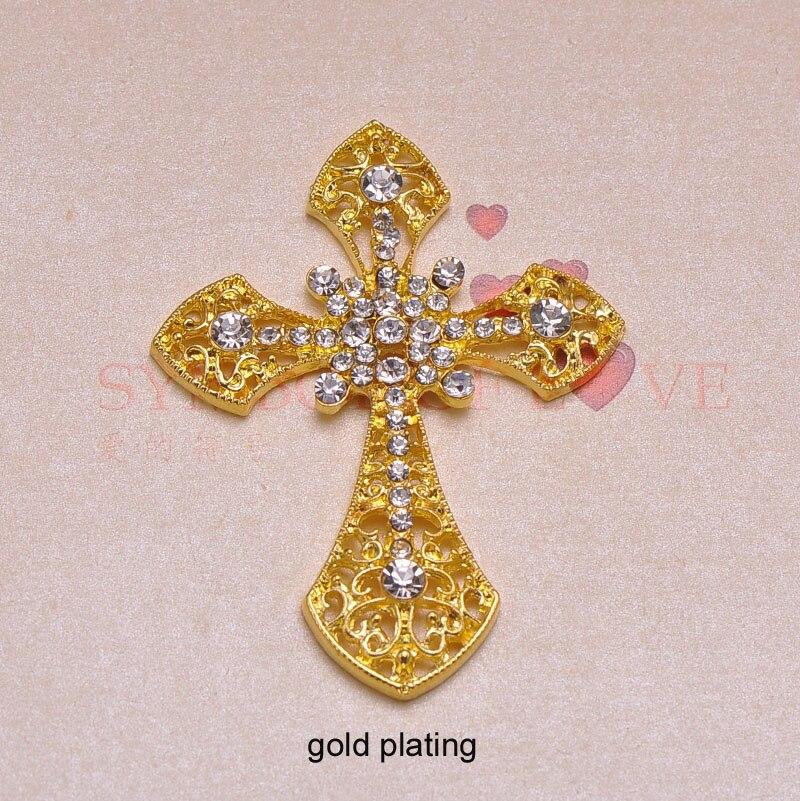 (J0623) 54mm x 7mm rhinestone metalowy przycisk, srebra lub złota poszycia, płaskie z powrotem, krzyż kształt w Guziki od Dom i ogród na  Grupa 1