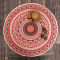 Indian Mandala Round Roundie Beach Throw Orange Color Tapestry Hippy Boho Gypsy Polyester Tablecloth Beach Towel
