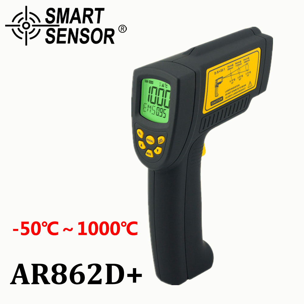 Digital IR Laser Temperature Gun non contact Infrared Thermometer Pyrometer Aquarium -50 ~ 1000C AR862D+ Emissivity Adjustable elecall 50 800c adjustable emissivity autooff lcd noncontact digital laser infrared thermometer ir high temperature gun tester page 9