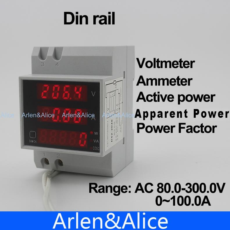 Din rail LED display voltmeter ammeter with active and apparent power and power factor Din-rail range AC 80.0-300.0V 0-100.0A