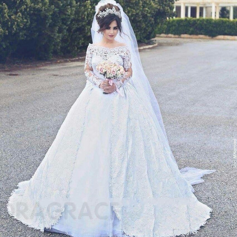 Custom Made Romantic Applique Lace Long Sleeves Wedding Dresses Wedding Gowns vestido de noiva DG0037 in Wedding Dresses from Weddings Events