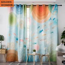 Cartoon Cute Colorful Kids Curtains Children Room Boys And Girls Marine Ocean Fish Customized Finished