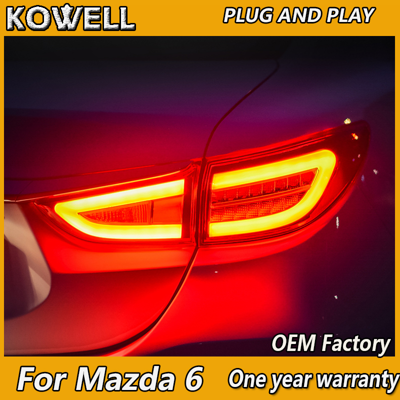 KOWELL Car Styling for <font><b>Mazda</b></font> <font><b>6</b></font> Taillights 2014 2015 2016 New <font><b>Mazda</b></font> <font><b>6</b></font> <font><b>LED</b></font> <font><b>Tail</b></font> <font><b>Light</b></font> <font><b>LED</b></font> Rear Lamp DRL+Brake+Park+Signal image