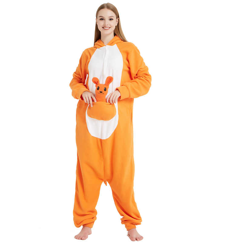 77d45d347f ... Orange Polar Fleece Animal Kangaroos Kigurumi For Adults Pajamas Female  Stage Performance Costume Kawaii Onesie Sleepwear ...