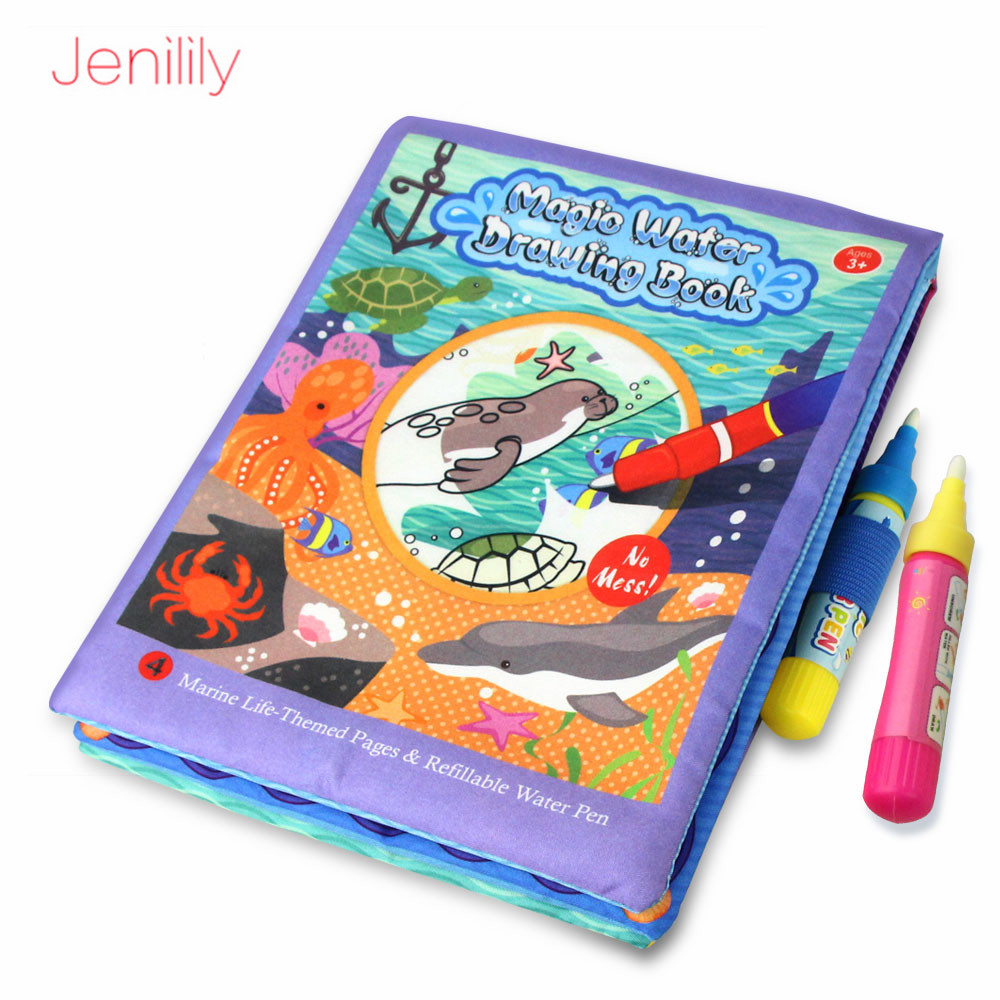 Children Magic Water Cloth Drawing Book With 2 Magic Pens Baby Doodle Soft Mat Marine Life Early Intelligence Development Toys