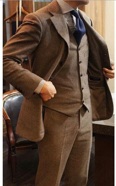 Mens Tweed Jackets Brown Coat Bespoke  Herringbone Blazers Business Formal Plus