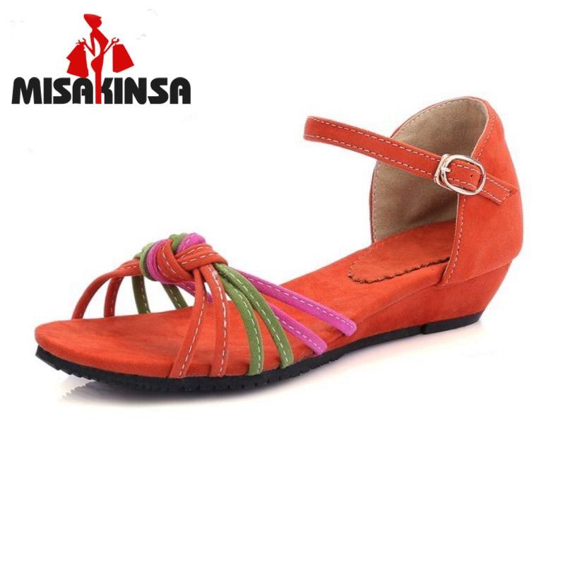 eb8bdd9974a Misakinsa Datar Sandal Tali Pergelangan Kaki Sepatu Musim Panas Sandal  Lipat Flop Sandale Femme Warna Campuran Shoses Wanita Ukuran 31- 43 PA00725