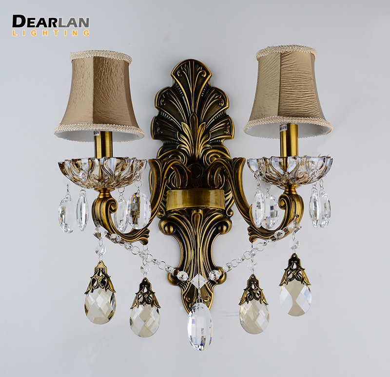 Antique Brass Wall Sconces Crystal Light Fixture 2 Arms Vintage Home