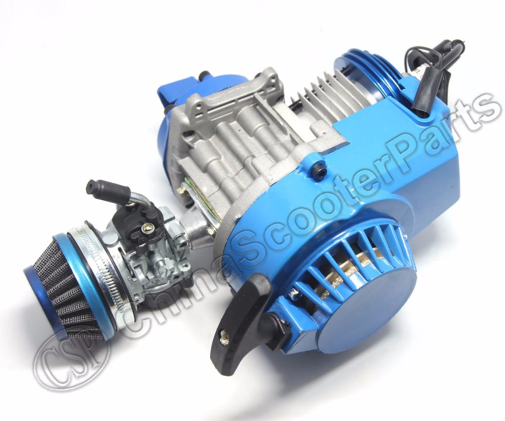 Racing 49CC Engine Alu Pull Start 15MM Carburetor CNC head Air filter Mini Moto Pocket ATV Quad Buggy Dirt Pit Bike Blue 49cc engine plastic pull e start 15mm carburetor mini moto for 49cc pocket atv quad buggy dirt pit bike chopper gas scooter