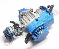 Racing 49CC Engine Alu Pull Start 15MM Carburetor CNC head Air filter Mini Moto Pocket ATV Quad Buggy Dirt Pit Bike Blue