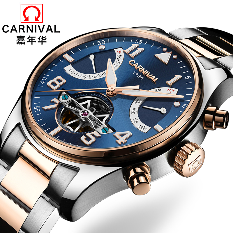 Switzerland Carnival Brand Luxury Mens Watches Multi-function Watch Men Sapphire reloj hombre Luminous relogio Clock C8783-6 wrist switzerland automatic mechanical men watch waterproof mens watches top brand luxury sapphire military reloj hombre b6036
