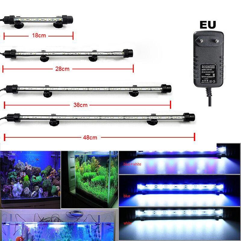 Aquarium Fisch Tank 9/12/15/21 LED Licht Blau/Weiß 18/28/38 /48 CM Bar Tauch Wasserdicht Clip Lampe Decor mit EU Stecker