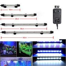 Aquarium Fish Tank 9/12/15/21 LED Light Blue/White 18/28/38/48CM Bar Submersible Waterproof Clip Lamp Decor with EU Plug