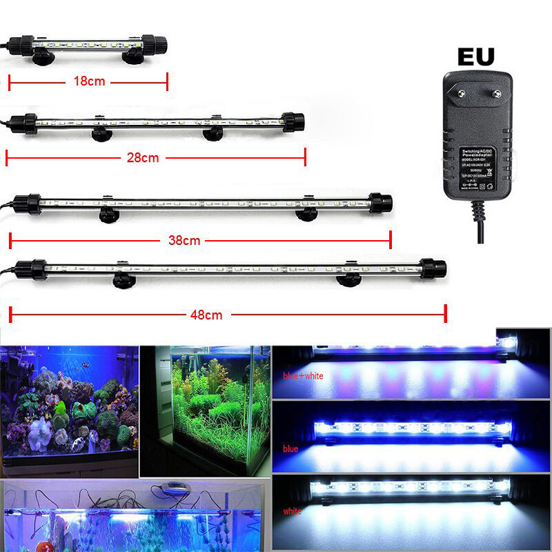 Submersible Aquarium Led Lighting Waterproof Fish Tank Underwater Bar Strip Aquario Lamp Aquarium Decor Lighting 220V EU Plug
