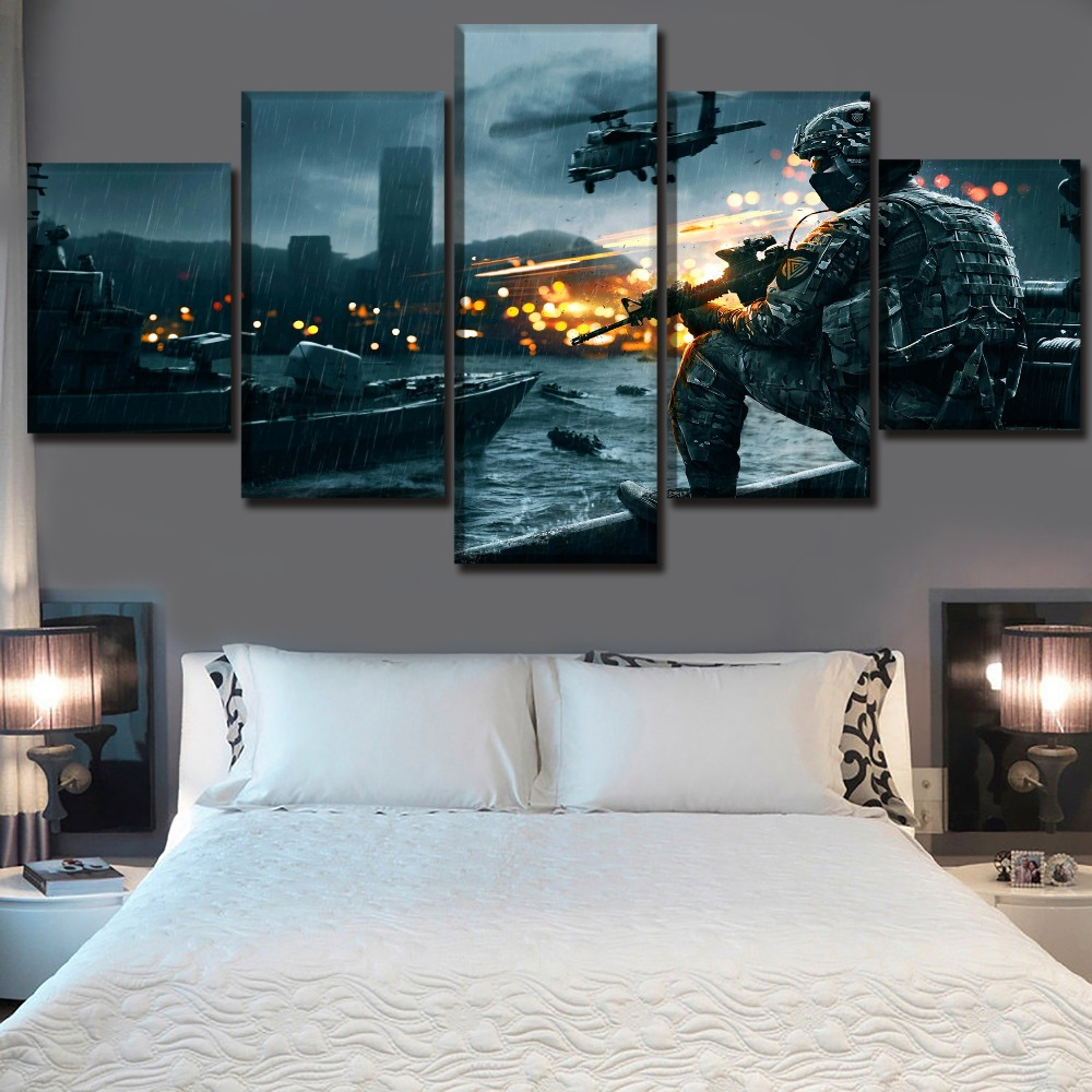 Wall Art Picture Home Decorative Framework Top-Rated Canvas Printed 5 Pieces Battlefield 4 Game Painting Modern Decor Bedroom