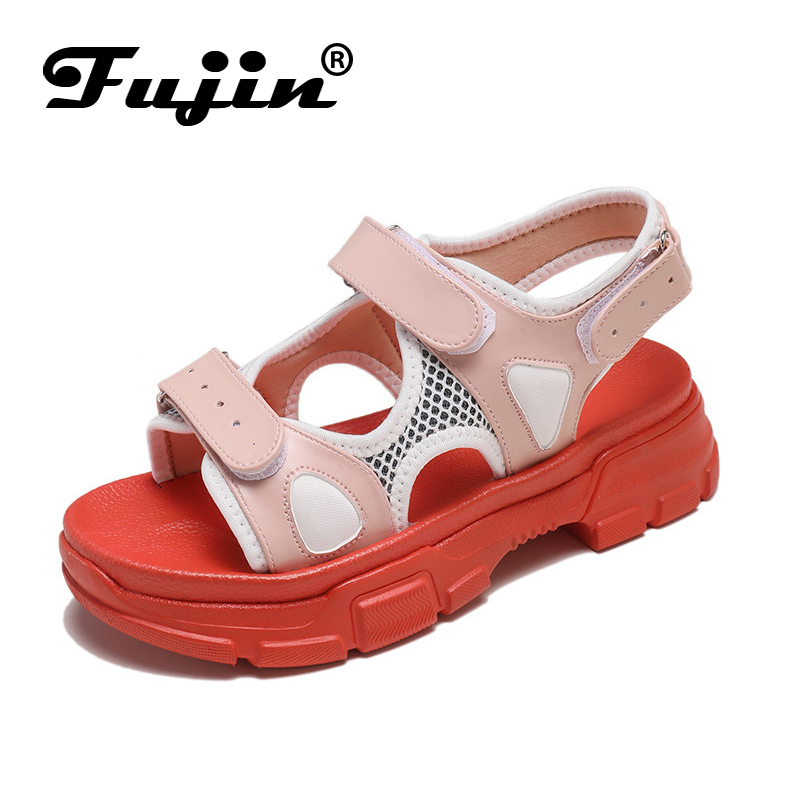 Fujin Summer Sandals Dropshipping Thick Bottom Women Platform Fashion Shoes Hook Loop  Causal Gladiator