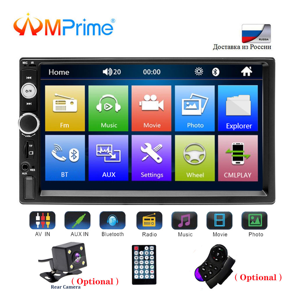AMPrime Universal 2 din Car Multimedia Player Autoradio 2din Stereo 7 Touch Screen Video MP5 Player Auto Radio Backup Camera image