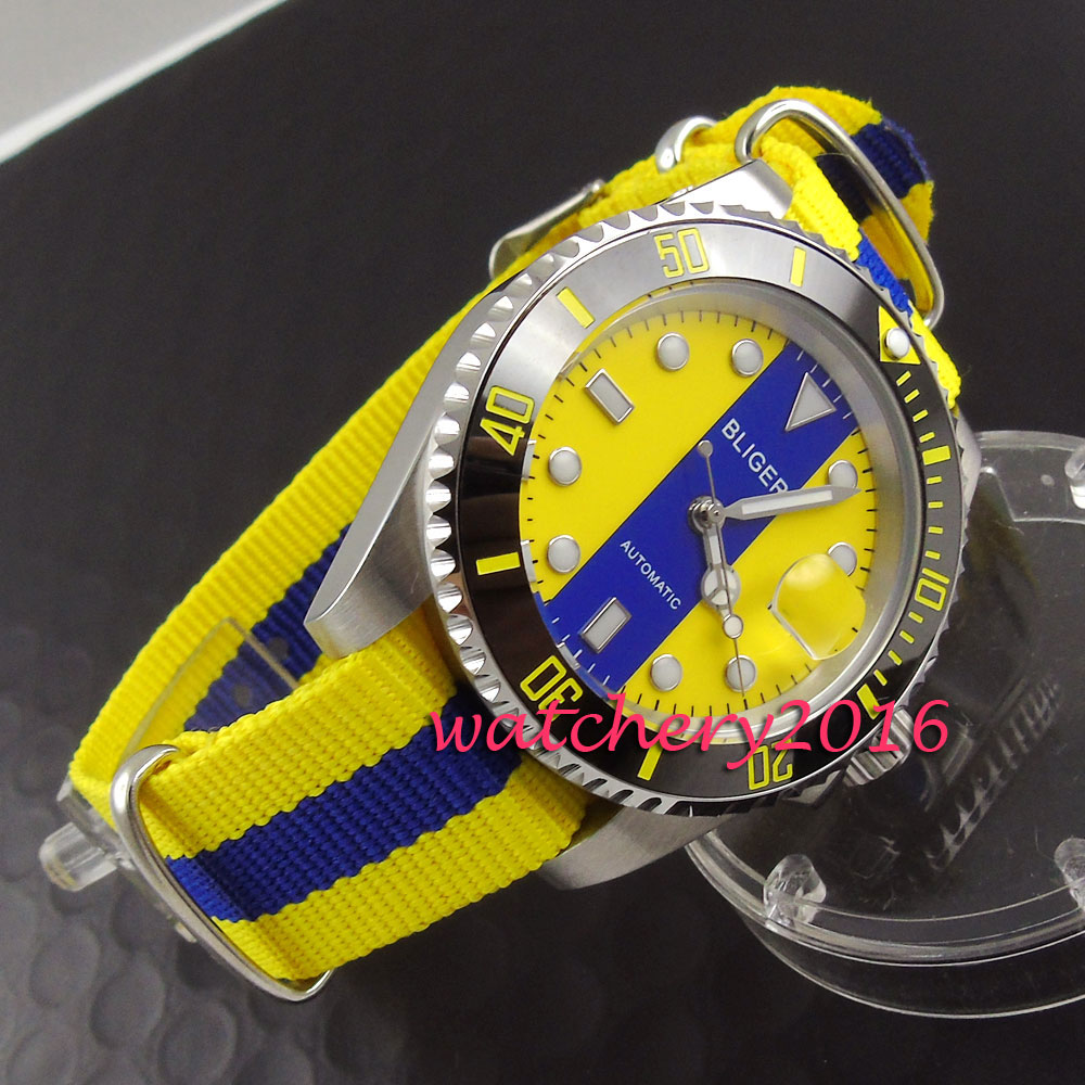 цена Luxury 40mm Bliger yellow & blue dial date window luminous marks sapphire automatic movement Men's Watch онлайн в 2017 году