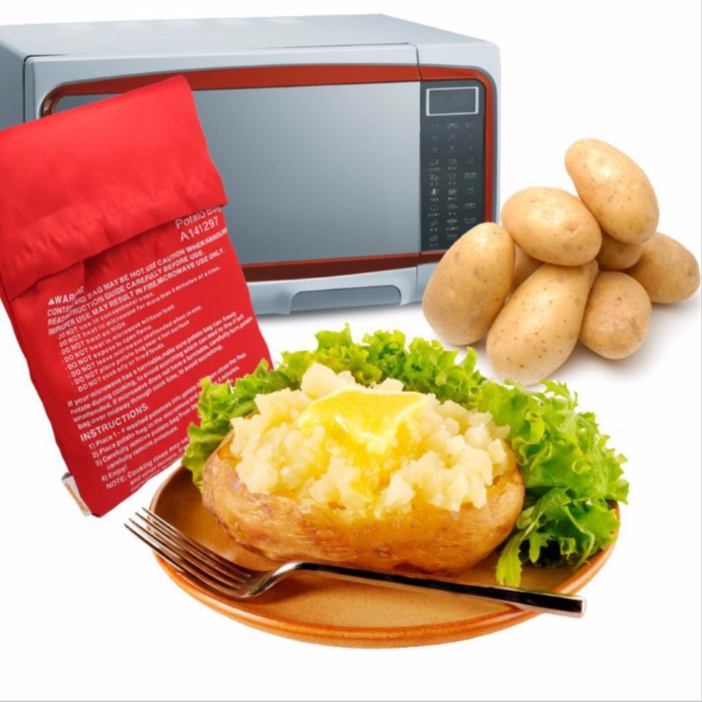 1PC NEW Red Washable Cooker Bag Baked Potato <font><b>Microwave</b></font> Cooking Potato Quick Fast (cooks 4 potatoes at once)