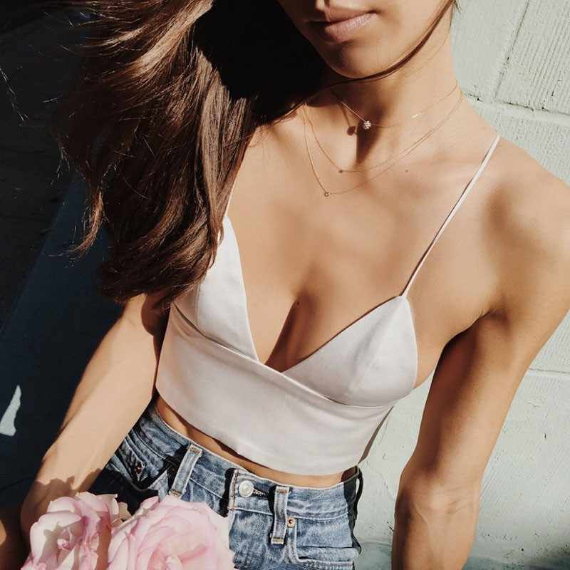 2 Colors Black White Satin Cami Tops Women's Bralette Bustier Bra Vest Shirt V Neck Ladies Top Backless Shirts Female Camisole