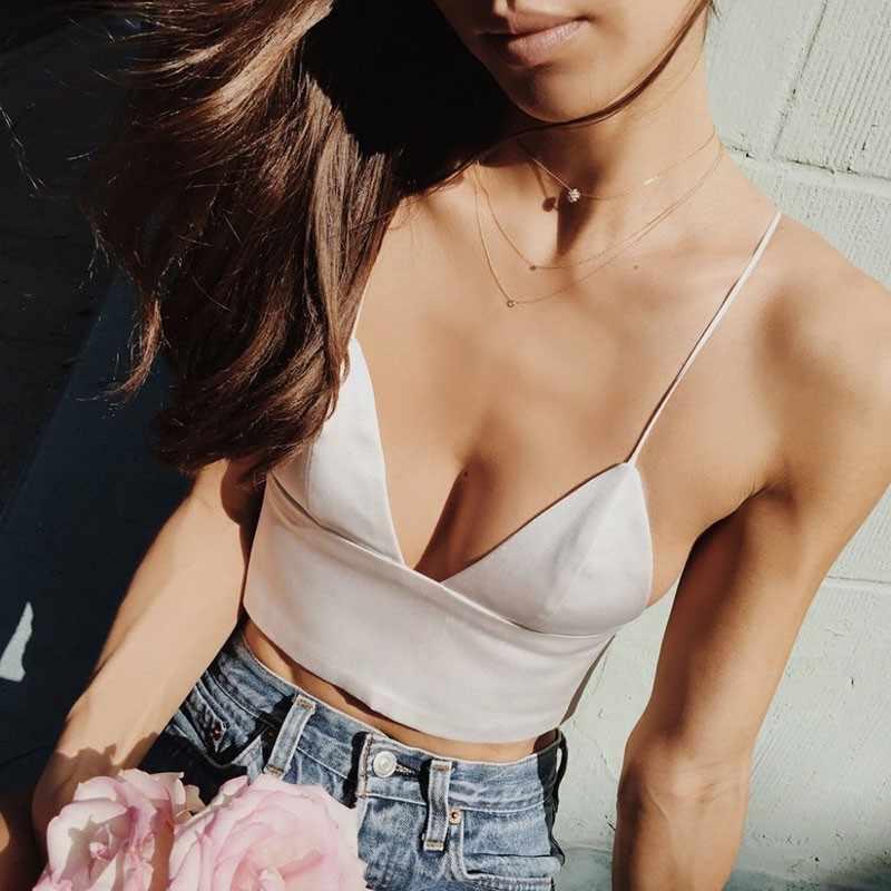 2 Colors Black White Satin Cami Tops Women's Bralette Bustier Bra Vest Shirt V Neck Ladies Top Backless Shirts Female Camisole