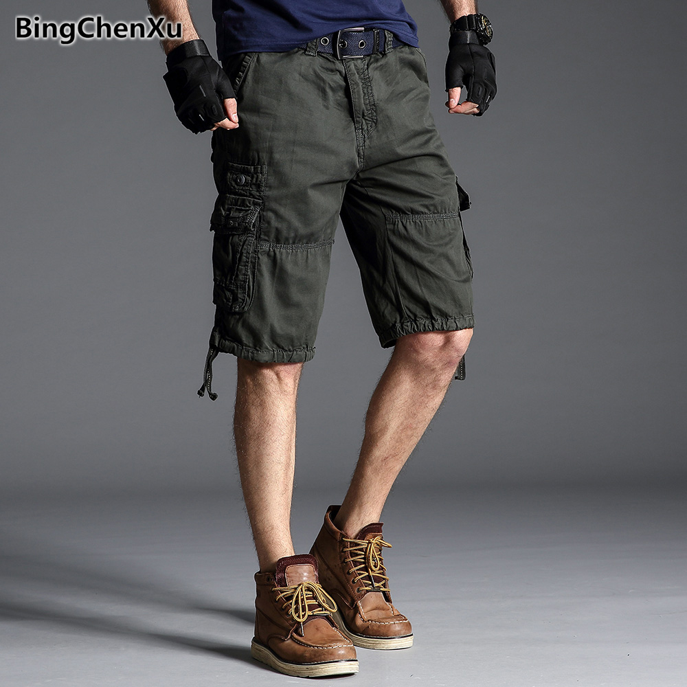 Men's Shorts with Pockets Summer Calf-length Trousers Casual Cargo Short Cotton Workout Shorts Male Military Style Bottoms 1266