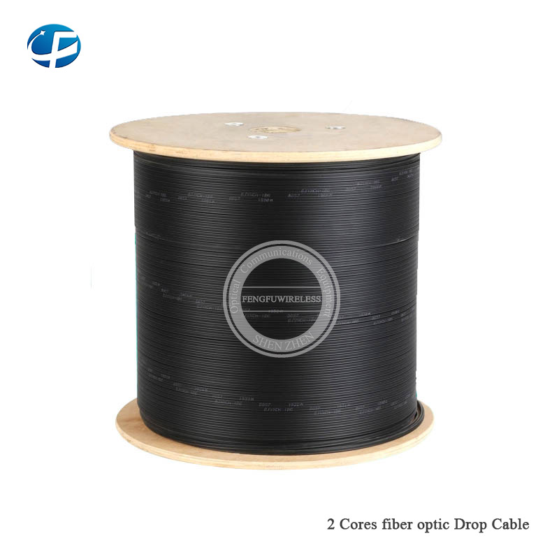 New 500m/roll 2 Cores 3 Steel Wire outdoor G657 FTTH fiber optic Drop Wire Cable LSZH sheath G657A FTTH