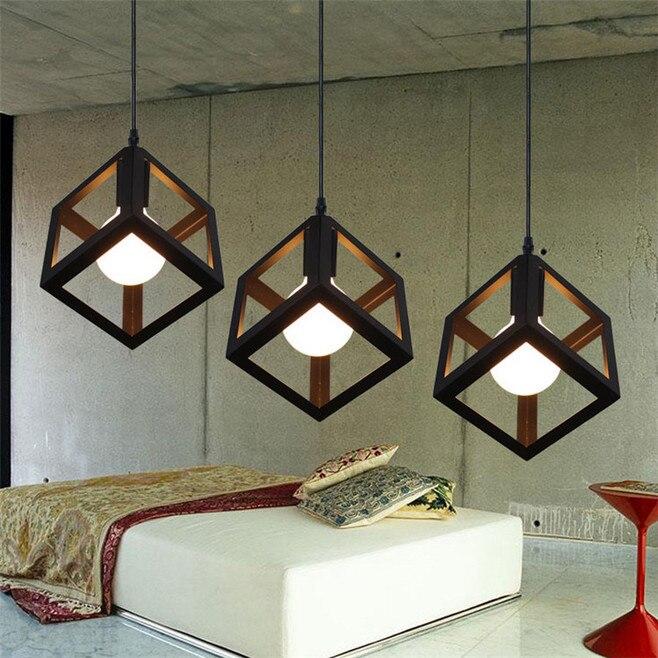 Lamp Pendant Lights Modern LED Pendant Lamp Metal Cube Cage Lampshade  Lighting Hanging Light Fixture Pendant