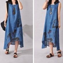Women Cotton Linen Casual Dress Vintage Floral Print Maxi Dress Irregular Hem A-line Plus Size Dress floral print hanky hem shift dress