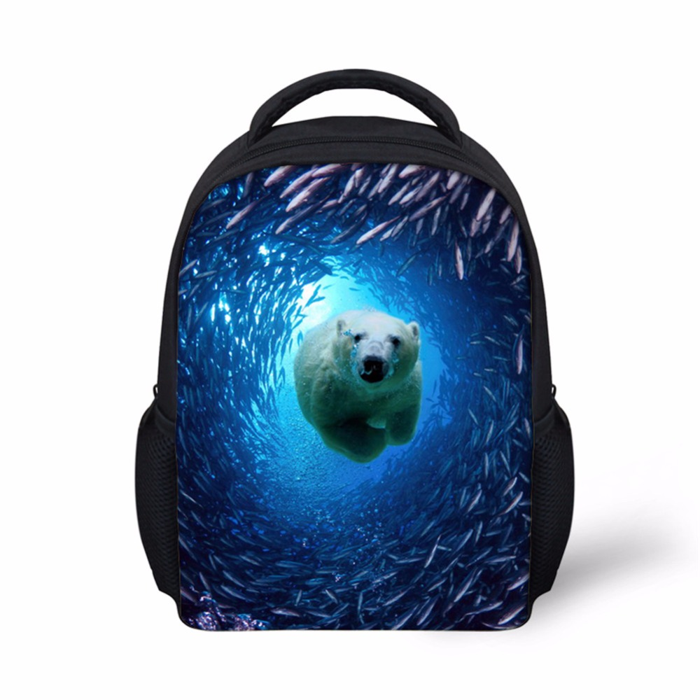 Noisydesign Brand Children School Bags Ocean Animal Bule Schoolbag for Teenager Boys Small girls Shoulder Bags School Backpack