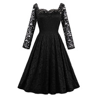 Sisjuly Women Summer Black Dress Vintage Style Dresses Knee Length Strapless Hollow Long Sleeve Dress Girls