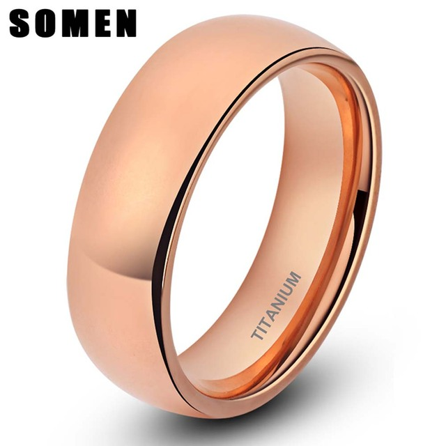 Brand Design Womens Classic 6mm Rose Gold Titanium Rings Dome Engagement Ring Female Wedding Band Fashion