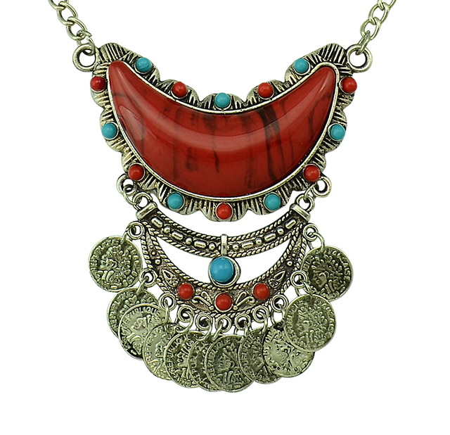 Plata Turca Étnica Bohemia Tallado Flor Monedas de Acrílico Collar Pendiente Largo Gypsy Beachy Étnico Tribal Festival