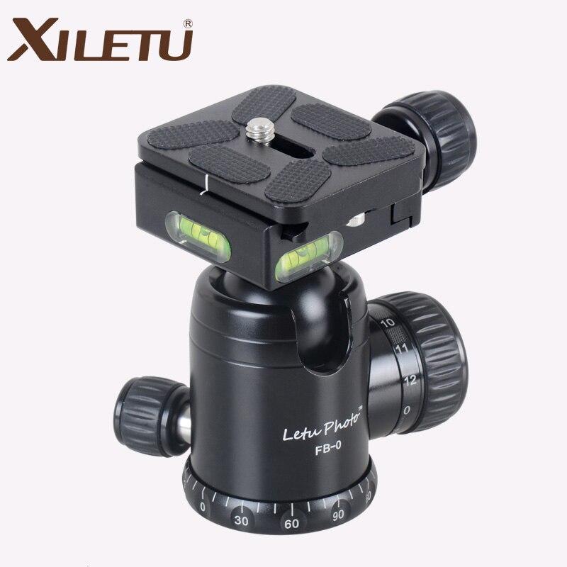 XILETU FB 0 Aluminum Camera Tripod Ball Head Ballhead Panoramic 30MM Diameter with Quick Release Plate Max Load 15 kg