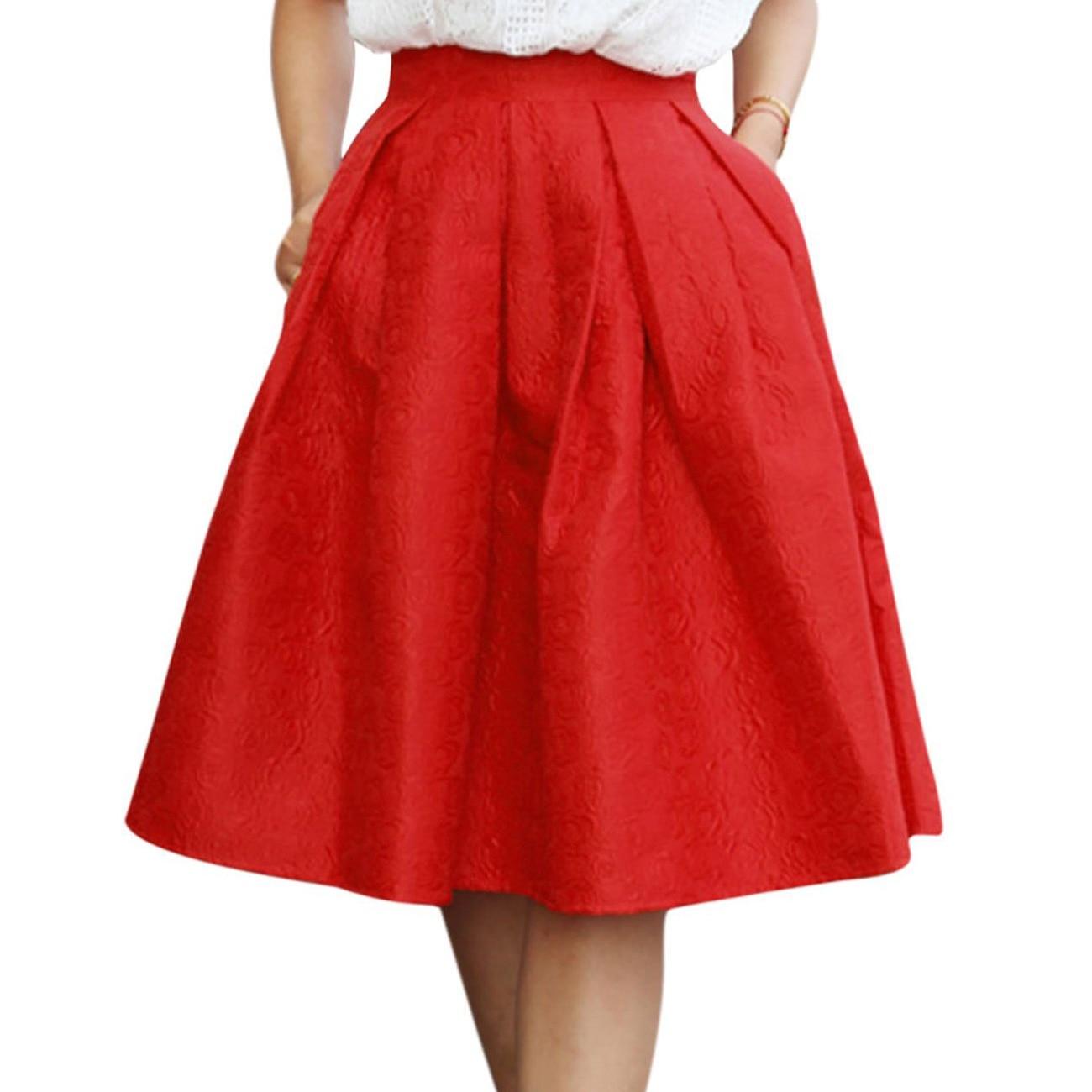 Жаккардовые юбки миди