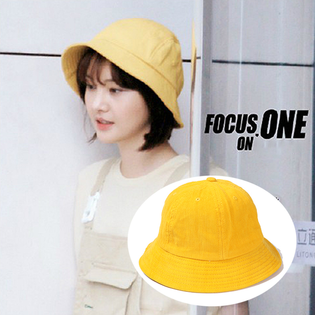 ac29478b 2018 Soild Yellow cotton Bucket Hat For women girl summer Kawaii Fisherman Hat  Fashionable Japanese Sun Hat And Caps Wholesale
