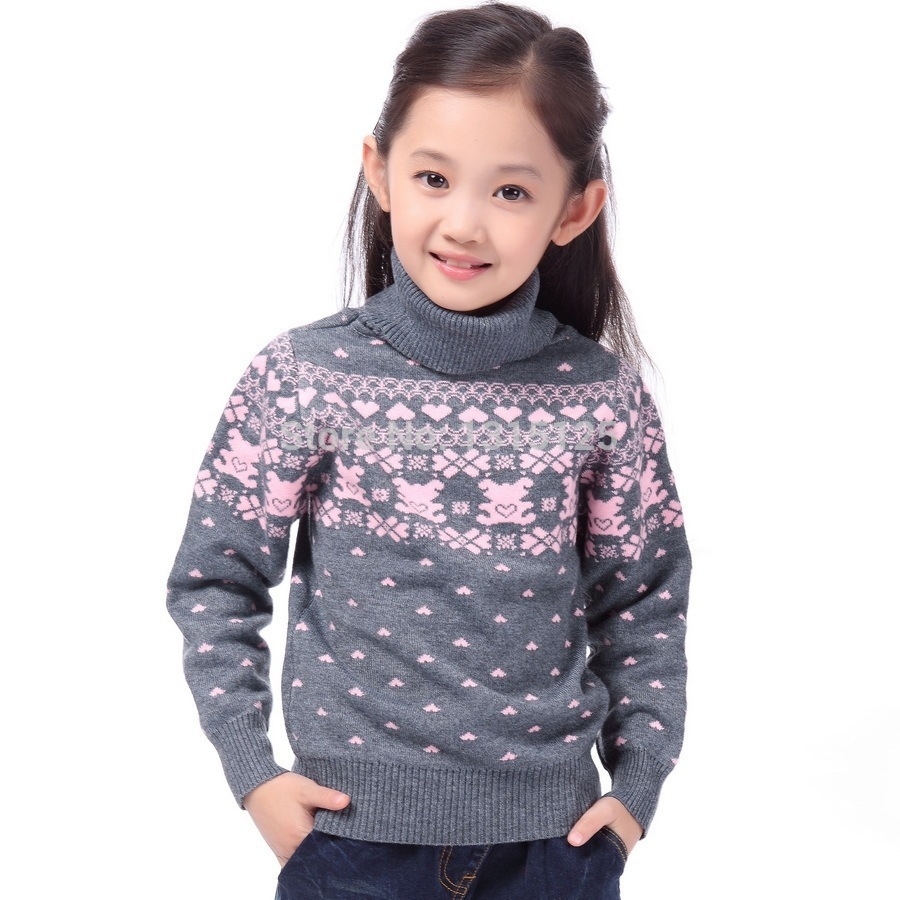New 2016 Children s Sweater Spring Autumn Girls Cardigan Kids Turtle Neck Sweaters Girl s Fashionable