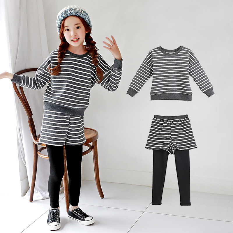 Girls Winter Autumn Clothing Sets Children Clothing Plus Thickening Striped Sweatshirt + Pants Girl Outfit Clothes 5 7 9 11 13