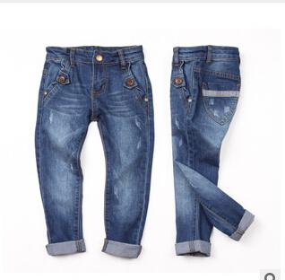 408220845 Sólido Con La Correa Al Por Mayor 2016 Nuevos Bebés de los pantalones Vaqueros Niños Pantalones de Mezclilla Ocasional Niños Jeans Niños Ropa Lote