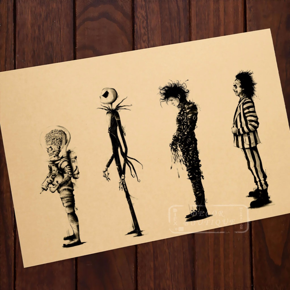 Tim Burton movies Beetlejuice Edward Scissorhands Poster Home Decor ...