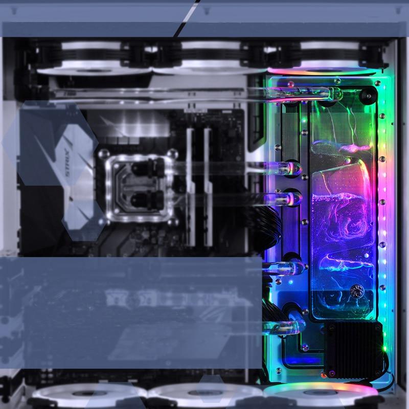 BYKSKI Acrilico Bordo Canale di Acqua Soluzione uso per LIAN LI O11 Caso Dinamico per CPU e GPU Blocco/3PIN RGB/Combo Pompa DDC