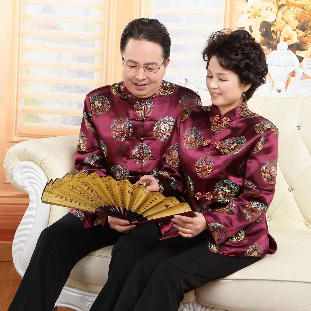 Vintga Chinesischen Traditionellen Kostüm Mittleren Alter Alte Tang Kleider Frauen Männer Geburtstag Hochzeit Tops Langarm Nation Kleidung