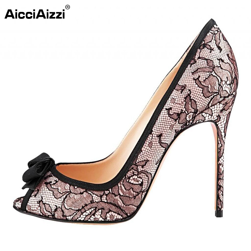 Women Peep Open Toe High Heel Shoes Sexy Bowtie Lace Shoes Woman Fashion Dress Party Pumps Heels Heeled Footwear Size 35-46 B221 my beauty diary 10 page 2