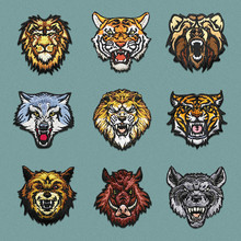 Cartoon Animal Iron on Patches for Clothing Tiger Lion Wolf Wild Boar Embroidery Applique Badges Clothes T Shirt Jeans Shoes