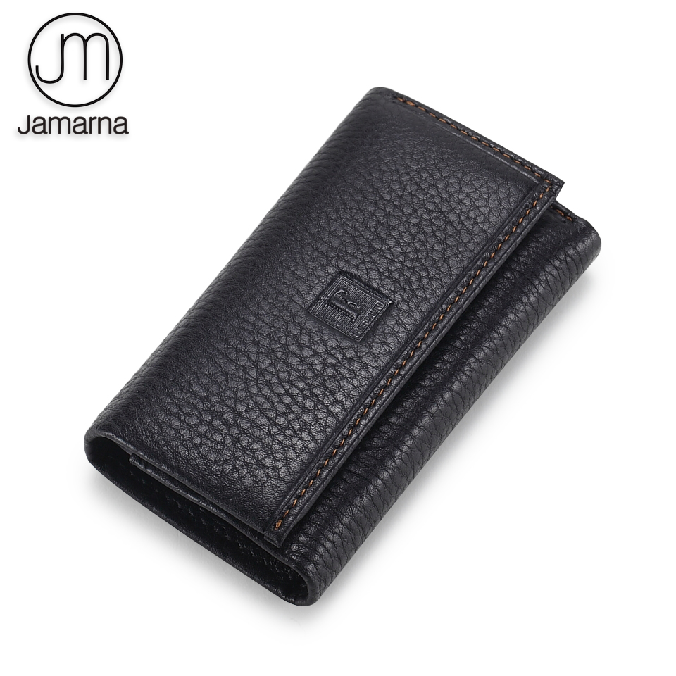 Jamarna Housekeeper Genuine Leather Key Holder Unisex Slim Key Wallet Black Coffee Color Soft Leather Key Ring Classic Design