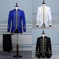 Jacket Pants Male Suit Black Blue White Costumes Magician Command Clothing Dress Costumes Singers White