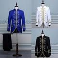 (Jacket + pants) traje masculino negro azul blanco disfraces mago comando ropa trajes de vestir Cantantes-hombre blanco traje de fiesta